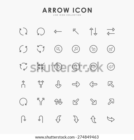 arrow minimal outline icons - stock vector