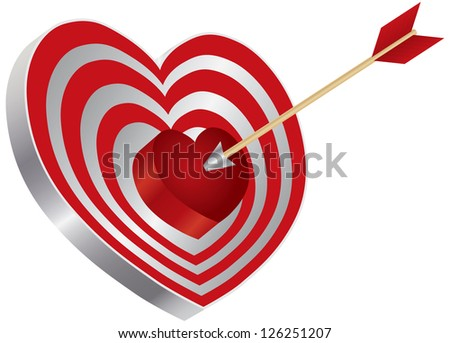 Arrow on Archery Red Heart Shape Target Board Bullseye Isolated on White Background Illustration Vector - stock vector