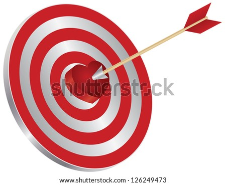 Arrow on Archery Target Red Heart Shape Bullseye Isolated on White Background Illustration Vector - stock vector