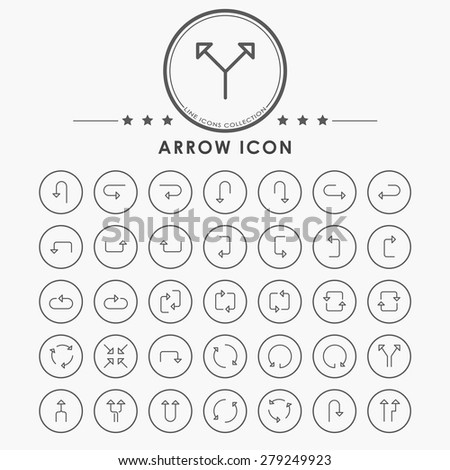 arrow outline icons with circle button - stock vector