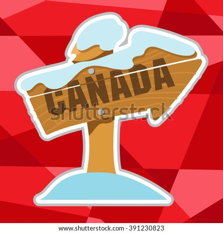 Arrow pointer Canada in cartoon style on polygon red background. - stock vector