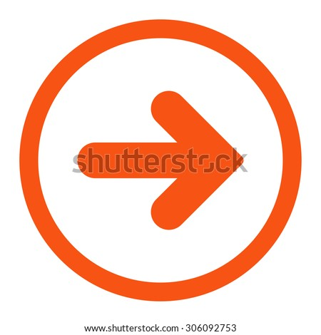 Arrow Right vector icon. This rounded flat symbol is drawn with orange color on a white background. - stock vector