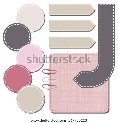 arrow round rectangular sewed and crackled shapes speech patterned elements for infographic with clips isolated on white background - stock vector
