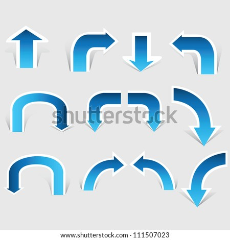arrow set, paper cut pop up, blue color - stock vector