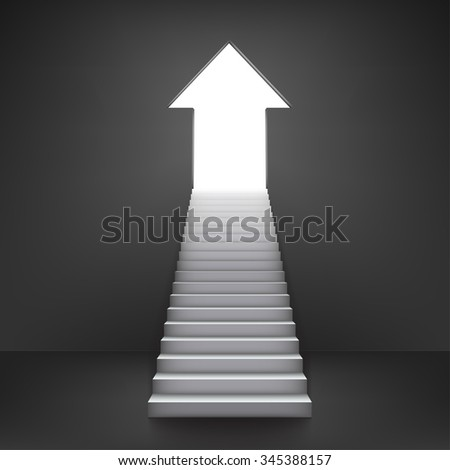 Arrow shaped door, symbolizing improvement or success - stock vector