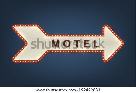 Arrow shaped motel roadsign with light bulbs on the contour on a night sky dark blue background. EPS10 vector. - stock vector