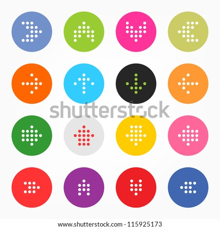 Arrow sign digital display. Popular colors icon retro style. Simple circle shape internet button on gray background. This vector illustration web design elements saved 8 eps - stock vector