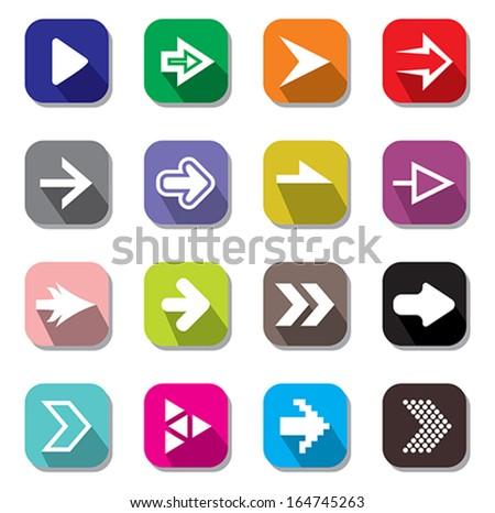 Arrow sign icon set - stock vector