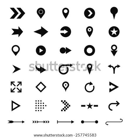 arrow sign icon set. Black pictogram on white circle shapes. Modern simple minimal, flat, solid, mono, monochrome, plain, contemporary style. Vector illustration web internet design element - stock vector