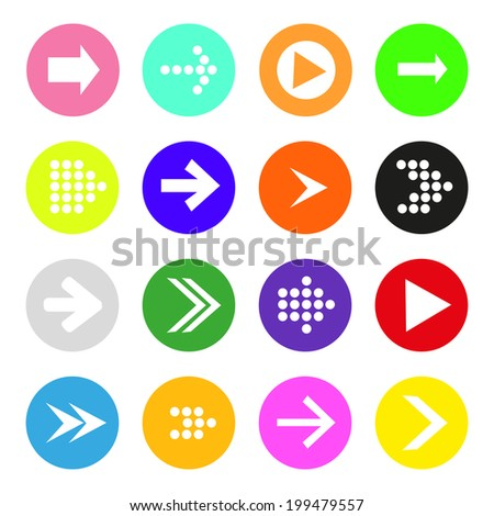 Arrow sign icon set. Simple circle shape internet button on white background. Contemporary modern style - stock vector