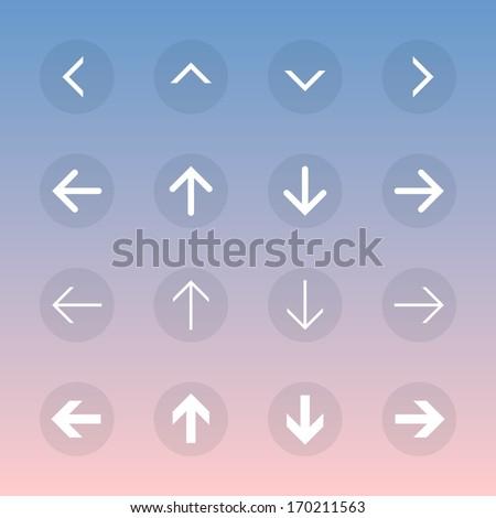Arrow sign icon set. Transparent buttons. Flat design. - stock vector