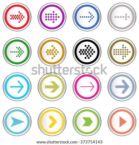Arrow sign on simple circle shape internet button. Contemporary modern style icon set.  Eps10 vector illustration  - stock vector