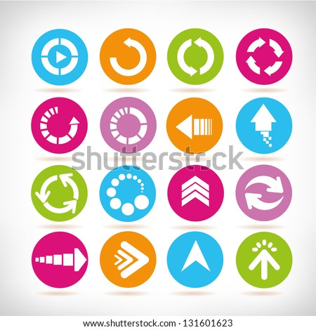 arrow sign set, loading icon and web design icon set - stock vector
