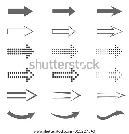 Arrow sign set. Web internet design elements  - stock vector