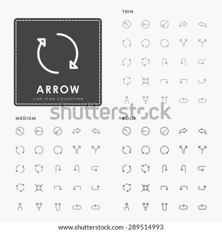 arrow thin, medium and bold outline icons - stock vector