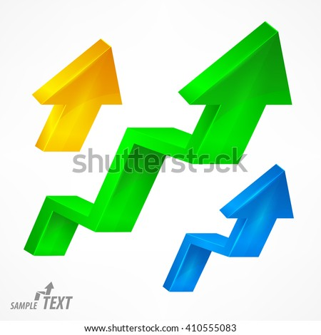Arrow up color signs on white. Vector illustration. illustration - stock vector