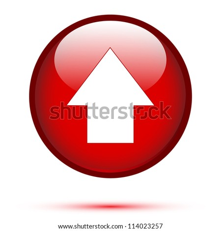 Arrow up on red button - stock vector