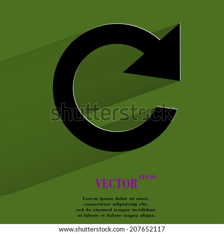 arrow Update. Flat modern web button with long shadow and space for your text. Vector. EPS10 - stock vector