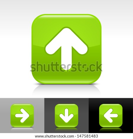 Arrow upload icon. Green color glossy web button with white sign. Rounded square shape with shadow, reflection on white, gray, black background. Vector illustration design element 8 eps  - stock vector