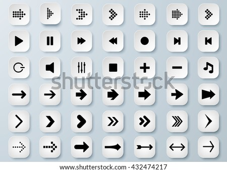Arrow vector 3d button icon set black color on grey background. Isolated interface line symbol for app, web and music digital illustration design. Application sign element collection. - stock vector