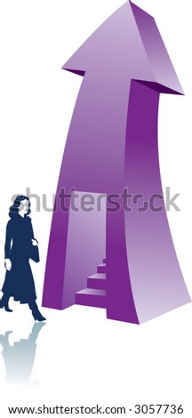 Arrow with stairway and business woman - stock vector