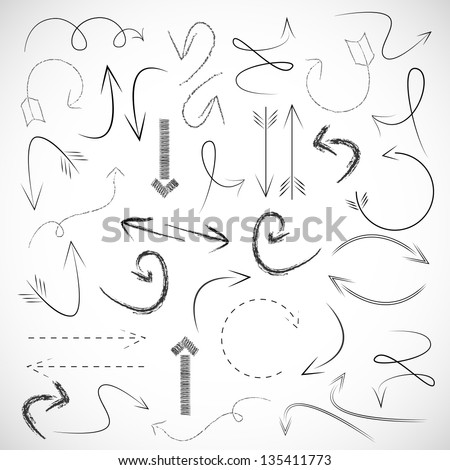 Arrows And Lines - Hand Drawn - Set - Vector illustration - Graphic Design Editable For Your Design. Arrows Logo - stock vector