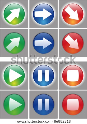 Arrows and player button Icon set. Web ready button on and off status. In the vector file the symbol are in a different layer, easy to modify. - stock vector