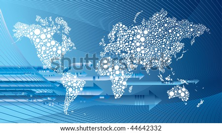 arrows and world map - stock vector
