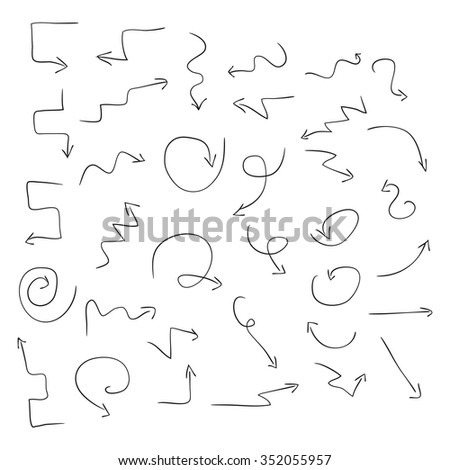 Arrows. Black pattern on a white background. Set. Sketch, Doodle. Signs, symbols. - stock vector