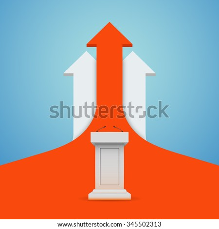 arrows business growth. White Podium Tribune Rostrum Stand with Microphones - stock vector