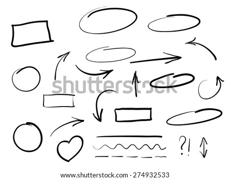 Arrows circles and abstract doodle writing design vector set - stock vector