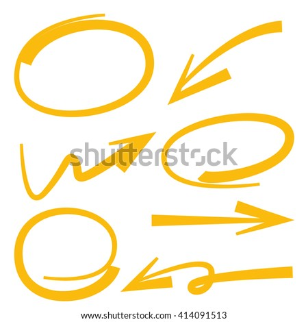 arrows circles marker highlighter elements - stock vector