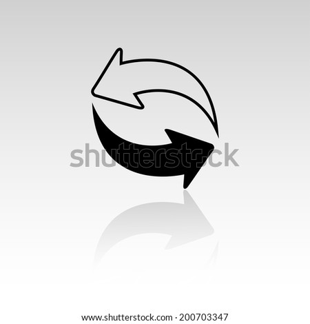 Arrows cycle mirror icon - stock vector