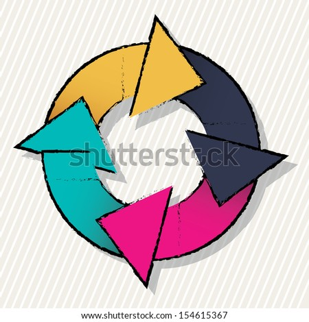 arrows design over white background vector illustration - stock vector