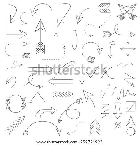 arrows, hand drawn arrows set  - stock vector