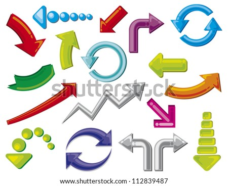 arrows icons set - stock vector