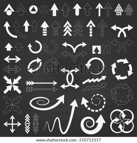 Arrows icons set on chalkboard. - stock vector