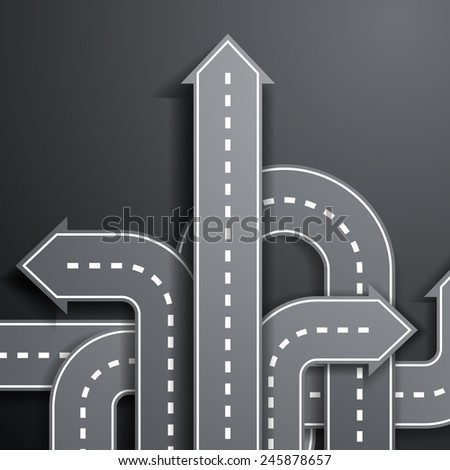 arrows in the form of roads - stock vector