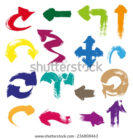 Arrows of different shapes and color drawn with a brush and paint - stock vector