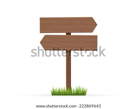 Arrows road sign on grass - stock vector