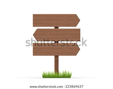 Arrows road sign three sheet on grass - stock vector