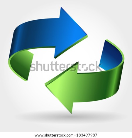 Arrows Sign. Blue Green Color. Isolated On White  - stock vector
