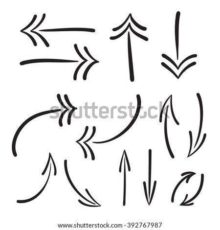 Arrows vector hand drawn set icons illustration, perfect for web, office, right, left, up and down - stock vector