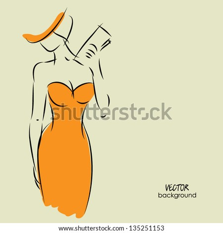 art background with beautiful young woman in party dress with clutch bag, sketch vector - stock vector