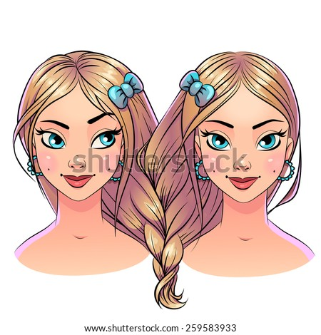 Art beautiful hair style two 2 girls portrait, bright pastel color with black stroke contour. Vector clipart isolated on white. Sisters blonde twins heart hairstyle - stock vector