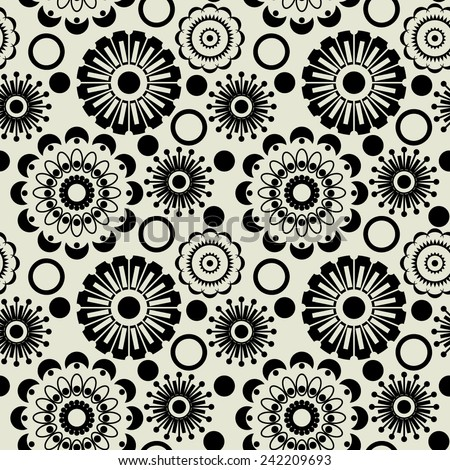 art black graphic geometric seamless pattern, square background with circle floral and sun ornament - stock vector