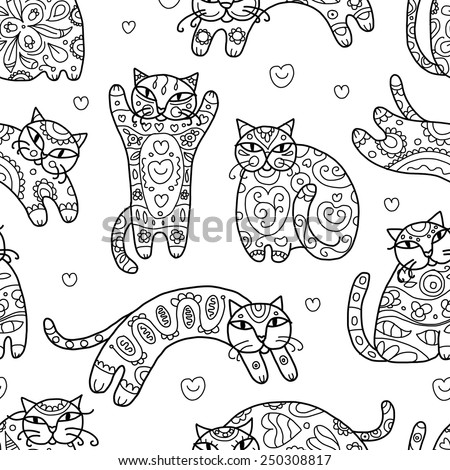 Art cats with floral ornament, seamless pattern for your design. Vector illustration - stock vector