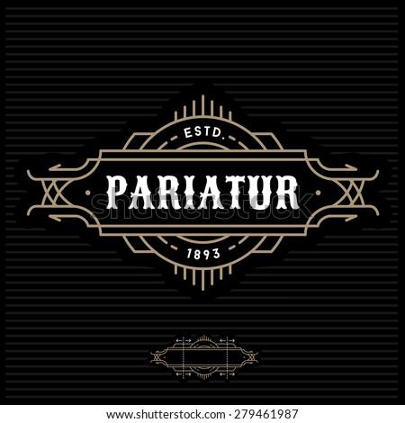 art deco antique luxury gold monochrome hipster minimal geometric vintage linear vector frame , border , label  for your logo badge or crest - stock vector