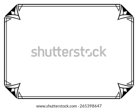 Art Deco black ornamental decorative frame - stock vector