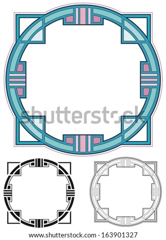 Art Deco circular border - stock vector